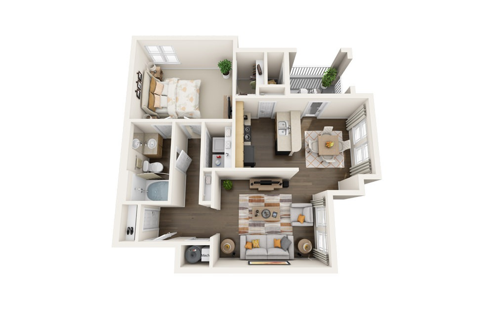 The Cardinal - 1 bedroom floorplan layout with 1 bath and 847 square feet.