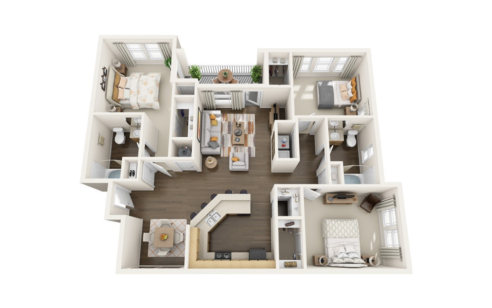 The Dove - 3 bedroom floorplan layout with 2 baths and 1430 square feet.