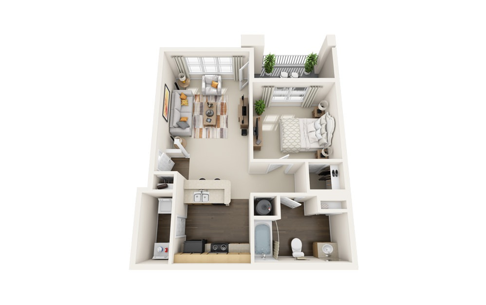 The Finch - 1 bedroom floorplan layout with 1 bath and 800 square feet.