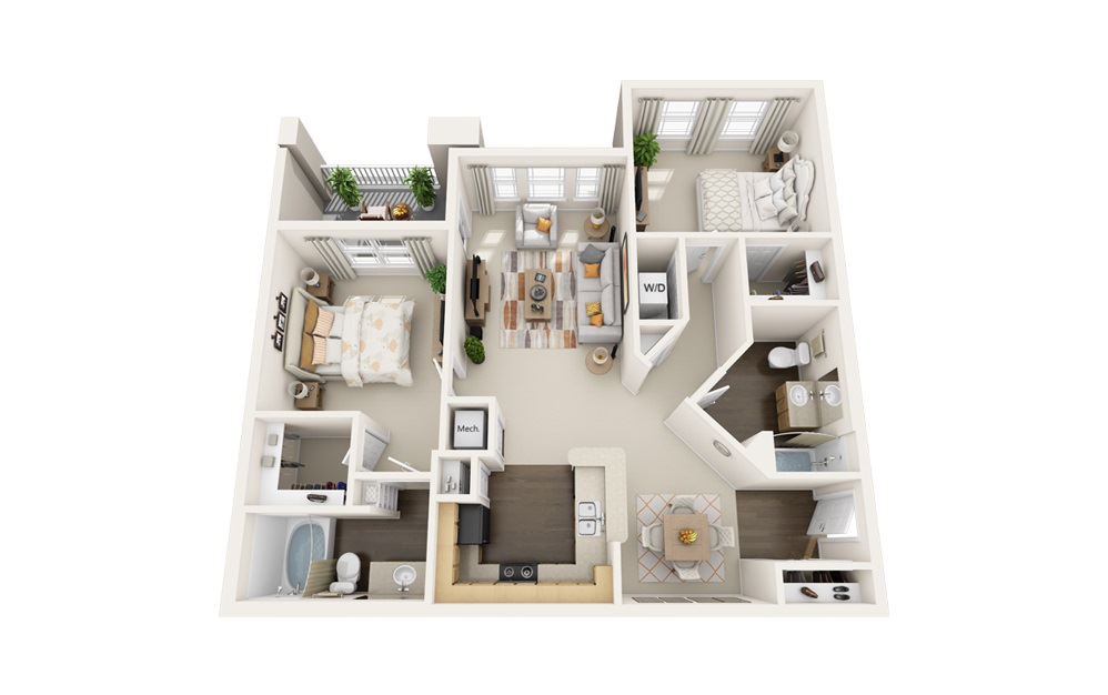 The Ibis - 2 bedroom floorplan layout with 2 baths and 1211 square feet.