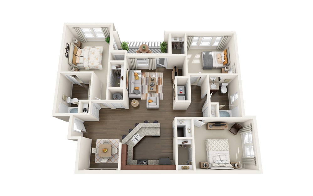The Mockingbird - 3 bedroom floorplan layout with 2 baths and 1430 square feet.