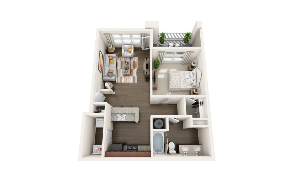 The Sandpiper - 1 bedroom floorplan layout with 1 bath and 800 square feet.