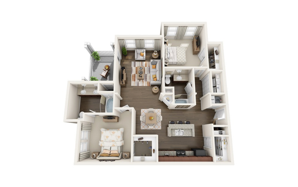 The Wren - 2 bedroom floorplan layout with 2 baths and 1279 square feet.